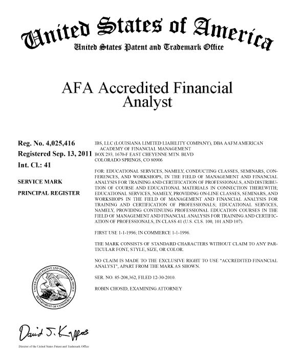 Trademarks - Financial Certifications ® Certified Financial Analyst ...